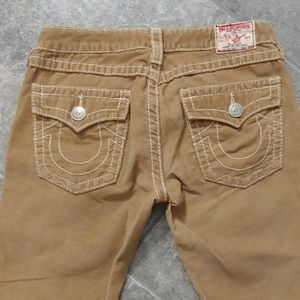 True Religion corduroy khaki Joey big t jeans.
